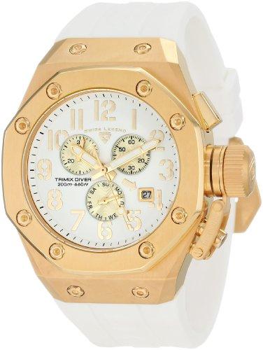 スイスレジェンド 腕時計 メンズ 【送料無料】Swiss Legend Men's 10541-YG-02-GA Trimix Diver Chronograph White Dial Watchスイスレジェンド 腕時計 メンズ