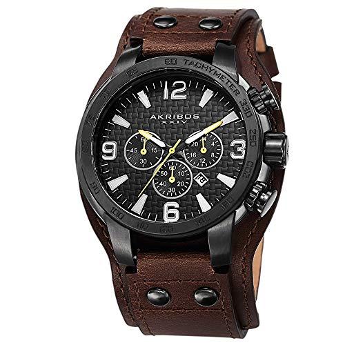 アクリボスXXIV 腕時計 メンズ Akribos XXIV Men's Chronograph Watch - 3 Subdials, Seconds, Minutes and GMT plus Date Window on Genuine Leather Cuff Strap - AK727アクリボスXXIV 腕時計 メンズ