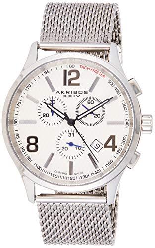 アクリボスXXIV 腕時計 メンズ 【送料無料】Akribos Swiss Chronograph Quartz Movement - Multifunction 3 Subdial Men's Watch on Stainless Steel Mesh Bracelet Watch - AK719アクリボスXXIV 腕時計 メンズ