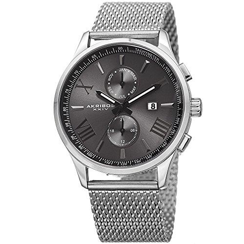 アクリボスXXIV 腕時計 メンズ 【送料無料】Akribos Multifunction Chronograph Watch - 2 Sub-Dials Complications Quartz With Date Window On Mesh Bracelet Men's Watch - AK905アクリボスXXIV 腕時計 メンズ