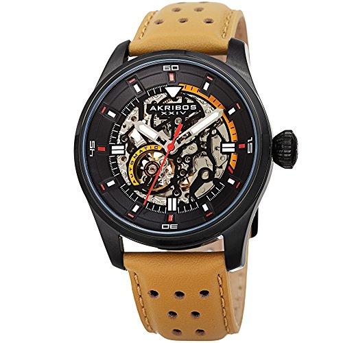 アクリボスXXIV 腕時計 メンズ Father's Day Gift - Akribos Automatic Mechanical Skeleton Watch ? Crocodile Embossed Genuine Leather Strap ? Automatic Mechanical Skeletonized Wristwatch See Through Dial - AK1020 (Tan)アクリボスXXIV 腕時計 メンズ