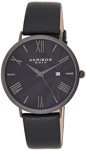 アクリボスXXIV 腕時計 メンズ 【送料無料】Akribos XXIV Men's Watch ? Smooth Genuine Leather Black Band ? Classic Round Case, Roman Numeral Markers, Guilloche Dial - AK1041BKアクリボスXXIV 腕時計 メンズ