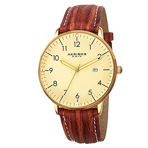 アクリボスXXIV 腕時計 メンズ 【送料無料】Akribos XXIV Men's Retro Swiss Quartz Cream Dial Gold-tone Stainless Steel Brown Leather Strap WatchアクリボスXXIV 腕時計 メンズ