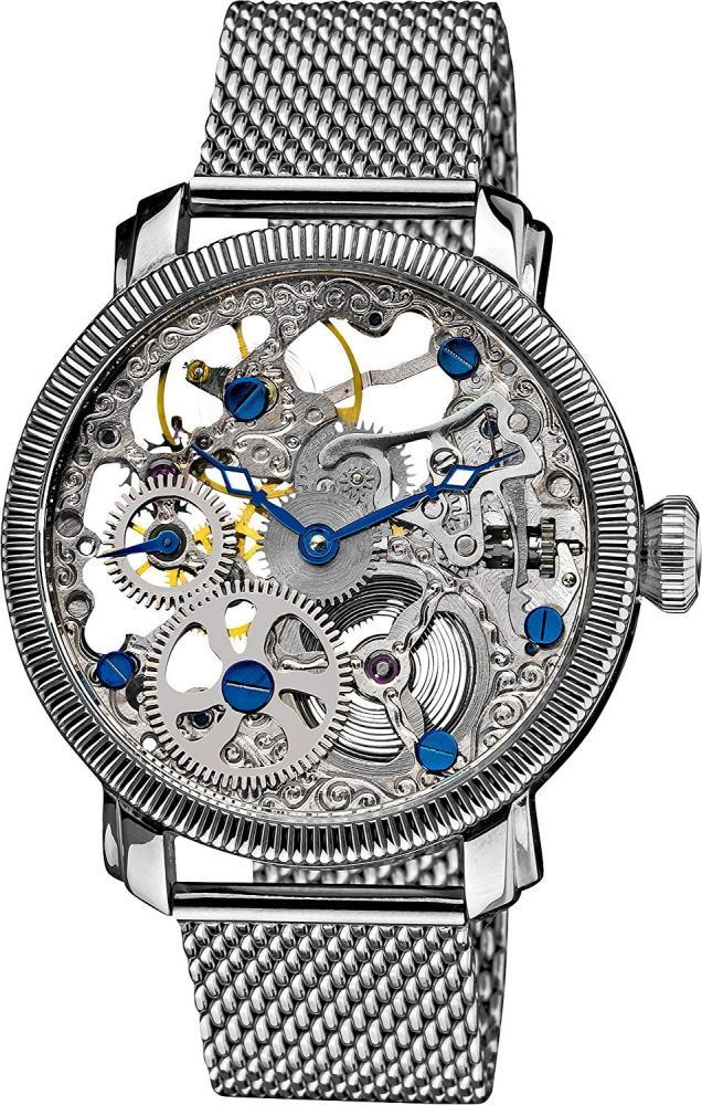 アクリボスXXIV 腕時計 メンズ Akribos XXIV Automatic Skeleton Mechanical Men's Watch - See Through Dial With IP Case with A Skeletonized Rose Gold Dial on Luxury Mesh Bracelet - AK526アクリボスXXIV 腕時計 メンズ