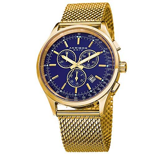 アクリボスXXIV 腕時計 メンズ 【送料無料】Akribos XXIV Men's Multifunction Watch - 3 Subdials Round Black Dial Chronograph Quartz Watch On a Mesh Bracelet - AK625アクリボスXXIV 腕時計 メンズ