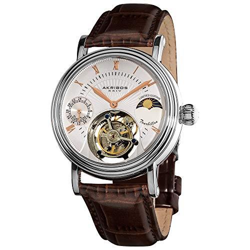 アクリボスXXIV 腕時計 メンズ 【送料無料】Akribos Mechanical Tourbillon Watch - Skeletonized Face with Automatic Dual-time Moon-Phase (AM/PM indicator) Dial - Limited Edition Genuine Croco-Embossed Calfskin Leather BアクリボスXXIV 腕時計 メンズ