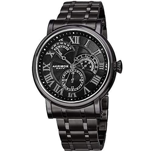 アクリボスXXIV 腕時計 メンズ Akribos XXIV Elegant Black Stainless Steel Men's Watch ?Analog Quartz ? AK1001BKアクリボスXXIV 腕時計 メンズ