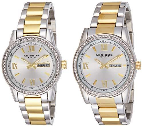 アクリボスXXIV 腕時計 メンズ 【送料無料】Akribos XXIV Men's and Women's Watch Matching Set - His and Her and Crystal Filled Watch Roman Numerals With Date Window on Stainless Steel Two-Tone Bracelet - AK888アクリボスXXIV 腕時計 メンズ