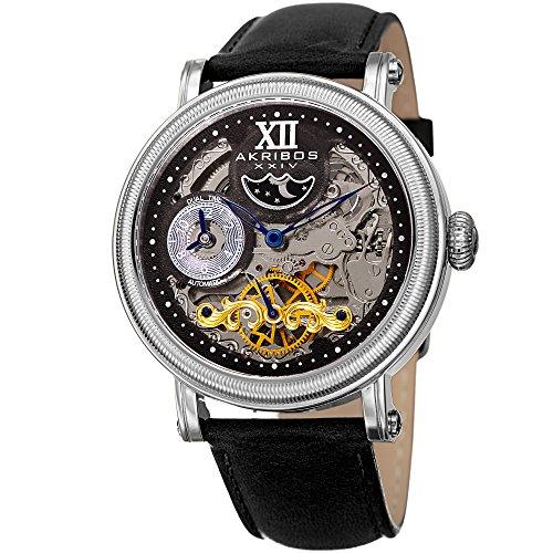 アクリボスXXIV 腕時計 メンズ Great for Father's Day - Akribos Automatic Skeleton Watch - Transparent Skeleton Dial - Men's See-Through Dress Camel Leather Strap - AKN968 (Black/Silver)アクリボスXXIV 腕時計 メンズ