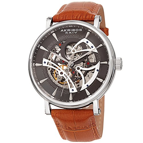 アクリボスXXIV 腕時計 メンズ Akribos XXIV Skeleton Men's Watch ? Crocodile Embossed Brown Genuine Leather Strap ? Automatic Mechanical Wristwatch See Through Dial ? AK1020SSBRアクリボスXXIV 腕時計 メンズ