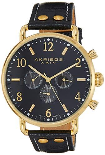 アクリボスXXIV 腕時計 メンズ 【送料無料】Akribos XXIV Complications Men's Watch - 3 Subdials day, date, and GMT On Leather Calfskin with White Stitching Strap - AK752アクリボスXXIV 腕時計 メンズ