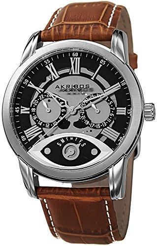アクリボスXXIV 腕時計 メンズ 【送料無料】Akribos XXIV Men's Beveled Bezel Multifunction Watch - 2 Subdials Plus Retrograde Day Subdial On Calfskin Leather Strap - AK725アクリボスXXIV 腕時計 メンズ
