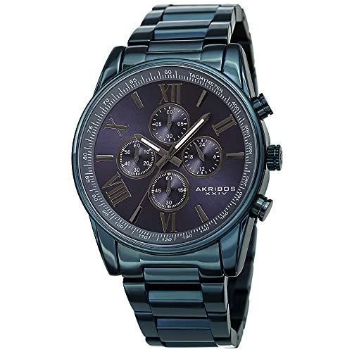 アクリボスXXIV 腕時計 メンズ 【送料無料】Akribos XXIV Men's Chronograph Watch - 4 Subdials Multifunction Complications with Tachymeter on Heavy Stainless Steel Blue Bracelet Watch - AK1072 (Blue)アクリボスXXIV 腕時計 メンズ