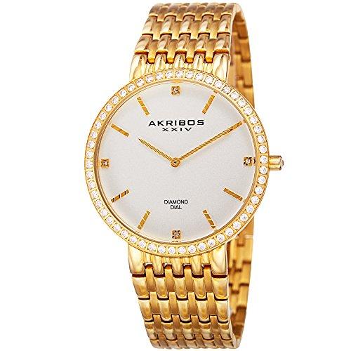 アクリボスXXIV 腕時計 メンズ Akribos XXIV Essential Mens Dress Watch - Matte Dial - Japanese Quartz - Diamond Accented - Stainless Steel Strap - Yellow GoldアクリボスXXIV 腕時計 メンズ