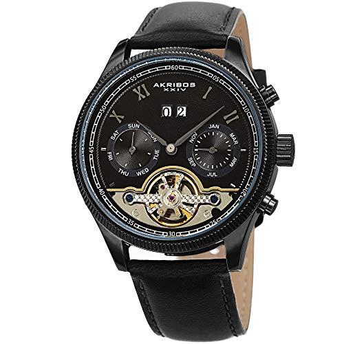 アクリボスXXIV 腕時計 メンズ Akribos XXIV Men's Multifunction Skeleton Watch ? Genuine Leather Black Band ? Automatic - See Through Dial - Day, Date and Month Display ? AK1065BKアクリボスXXIV 腕時計 メンズ
