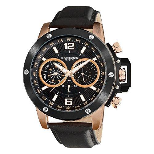 アクリボスXXIV 腕時計 メンズ Akribos XXIV Men's 'Conqueror' Multifunction Watch - 2 Time Zone and Date Complication Large 50mm Black Dial on Black Genuine Leather Strap - AK469アクリボスXXIV 腕時計 メンズ