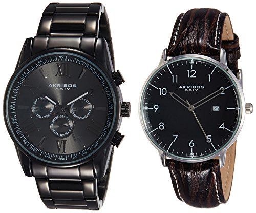 Black Multifunction Stainless アクリボスXXIV Black Men's Strap 2 - Set Watch Steel On Quartz XXIV Watch Bracelet, 【送料無料】Akribos Date - With Everyday Swiss Window アクリボスXXIV On 1 1 AK884腕時計 メンズ メンズ Leather 腕時計 Watch