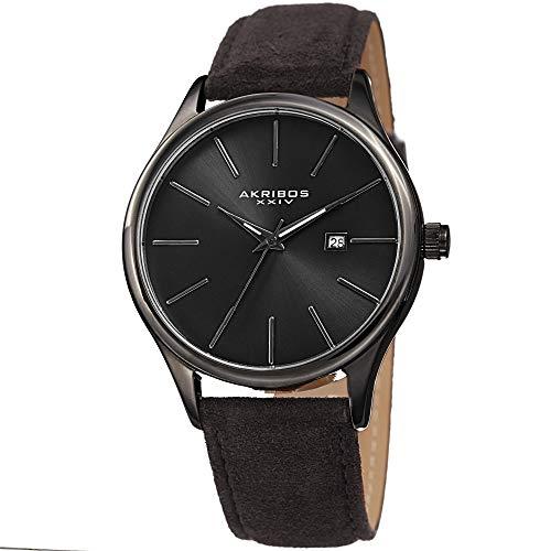 アクリボスXXIV 腕時計 メンズ 【送料無料】Akribos XXIV Men's AK1019RD Classic Watch with a Beautiful Silver/Plum Sunray Dial, Comfortable Suede Leather Strap Packed in a Beautiful Gift Box (Silver/Plum)アクリボスXXIV 腕時計 メンズ