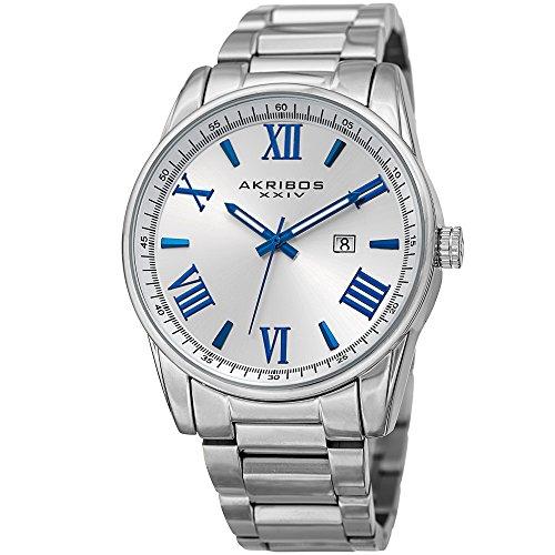 アクリボスXXIV 腕時計 メンズ 【送料無料】Akribos XXIV Men's Casual Classic Quartz Watch - Sunburst Dial With Roman Numeral And Date - Featuring a Stainless Steel Bracelet - AK936アクリボスXXIV 腕時計 メンズ