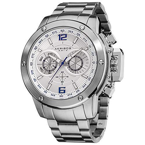 アクリボスXXIV 腕時計 メンズ Akribos XXIV Men's 'Conqueror' Multifunction Swiss Quartz White Watch - 3 Large Chronograph Subdials On Heavy Silver Stainless Steel Bracelet - AK604アクリボスXXIV 腕時計 メンズ