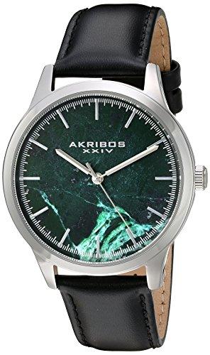 アクリボスXXIV 腕時計 メンズ Akribos XXIV Men's Silver-Tone Case with Green Marble Dial on Black Genuine Leather Strap Watch AK937BKGNアクリボスXXIV 腕時計 メンズ