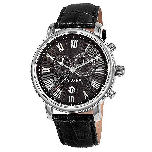 アクリボスXXIV 腕時計 メンズ 【送料無料】Akribos XXIV Our Products Mens Casual Watch - Engraved Wave Pattern Center Dial - Chronograph Quartz - Leather Strap - Black SilverアクリボスXXIV 腕時計 メンズ