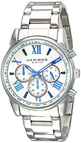 腕時計 アクリボスXXIV メンズ 【送料無料】Akribos Multifunction Stainless Steel Chronograph Watch - 3 Sub-Dials Complications Quartz - Men's Heavy Bracelet Watch - AK865腕時計 アクリボスXXIV メンズ