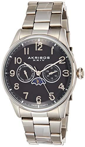 アクリボスXXIV 腕時計 メンズ 【送料無料】Akribos XXIV Men's Chronograph Moonphase Watch - 2 Subdials Day and Month On Stainless Steel Bracelet -AK790アクリボスXXIV 腕時計 メンズ