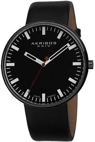 アクリボスXXIV 腕時計 メンズ 【送料無料】Akribos XXIV Men's AK733BK Essential Swiss Quartz Black Stainless Steel Leather Strap WatchアクリボスXXIV 腕時計 メンズ