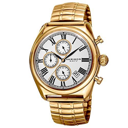 アクリボスXXIV 腕時計 メンズ 【送料無料】Akribos XXIV Men's Multifunction Watch - 3 Subdials Dual Time-Zones and Date Window - On Stainless Steel Expansion Bracelet - AK827アクリボスXXIV 腕時計 メンズ
