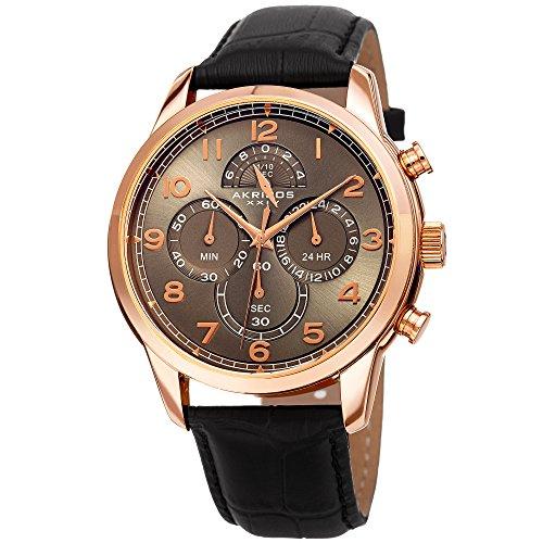アクリボスXXIV 腕時計 メンズ 【送料無料】Akribos XXIV Men's AK1004 Quartz Chronograph Leather Strap Watch (Rose-Tone & Black)アクリボスXXIV 腕時計 メンズ