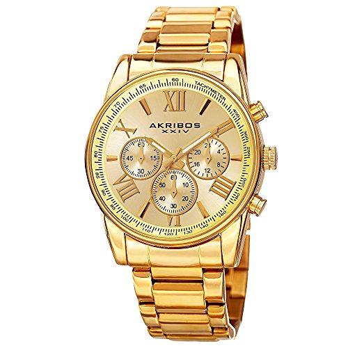 腕時計 アクリボスXXIV メンズ 【送料無料】Akribos Multifunction Stainless Steel Chronograph Watch - 3 Sub-Dials Complications Quartz - Men's Heavy Bracelet Watch - AK865腕時計 アクリボスXXIV メンズ