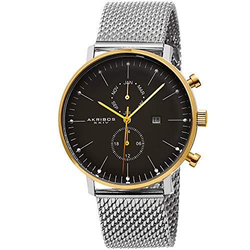 アクリボスXXIV 腕時計 メンズ 【送料無料】Akribos XXIV Men's Multifunction Watch - 2 Subdials Month, GMT and Date Window on Stainless Steel Mesh Bracelet - AK685アクリボスXXIV 腕時計 メンズ