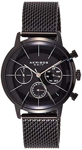アクリボスXXIV 腕時計 メンズ 【送料無料】Akribos XXIV Men's 'Ultimate' Multifunction Watch - 3 Subdials Include Day, Date and GMT on Logoed Dial On Stainless Steel Mesh Bracelet - AK714アクリボスXXIV 腕時計 メンズ