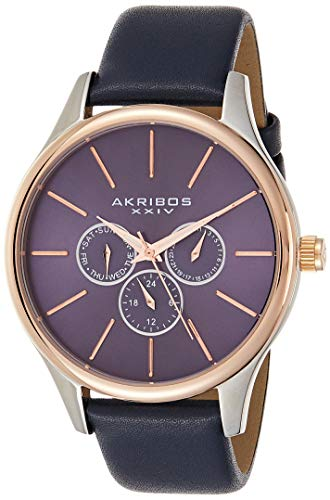 腕時計 アクリボスXXIV メンズ 【送料無料】Akribos Multifunction Chronograph Men's Watch - 3 Sub-Dials Complications On Genuine Leather Watch - AK870腕時計 アクリボスXXIV メンズ