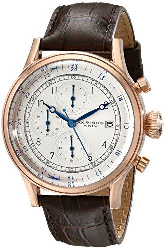 アクリボスXXIV 腕時計 メンズ Akribos XXIV Men's Chronograph Watch - 3 Subdials with Date Window On Crocodile Pattern Leather Strap - AK798アクリボスXXIV 腕時計 メンズ