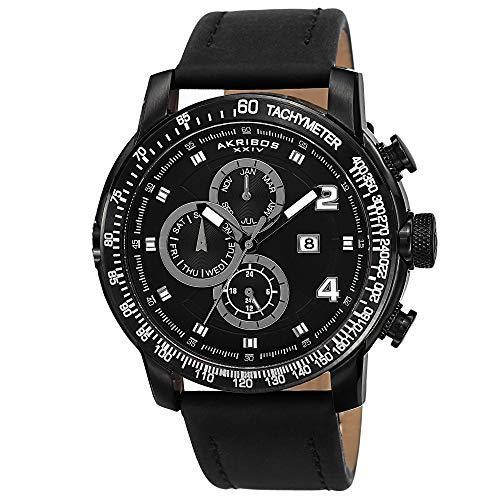 アクリボスXXIV 腕時計 メンズ Akribos XXIV Men's AK743BK Multifunction Quartz Movement Watch with Black Dial and Black Leather Calfskin StrapアクリボスXXIV 腕時計 メンズ