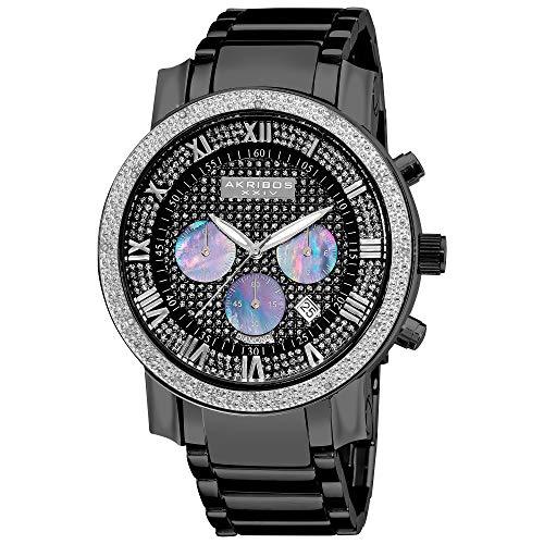 アクリボスXXIV 腕時計 メンズ Akribos XXIV Men's AKR439BK Grandiose Dazzling Diamond Black Chronograph WatchアクリボスXXIV 腕時計 メンズ