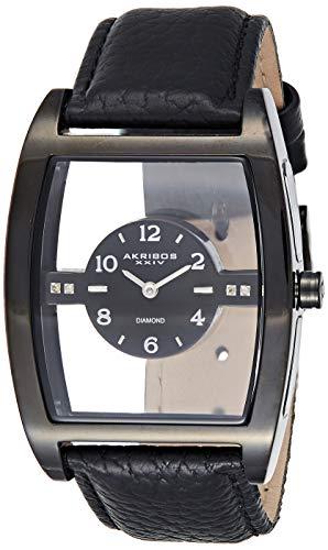 アクリボスXXIV 腕時計 メンズ 【送料無料】Akribos XXIV Men's Diamond Markers Watch - Floating Dial With See Through Window On Genuine Leather Strap - AK820アクリボスXXIV 腕時計 メンズ