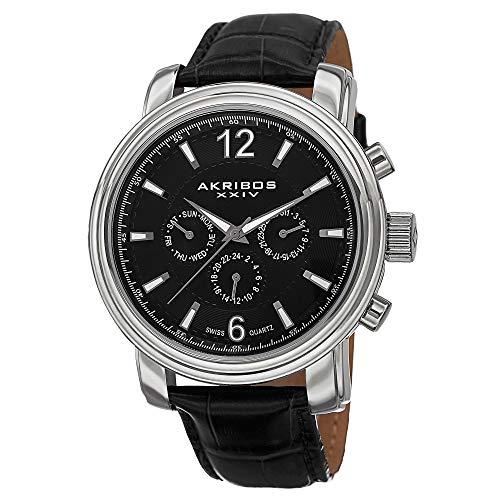 アクリボスXXIV 腕時計 メンズ 【送料無料】Akribos XXIV Men's AK734SSB Swiss Quartz Movement Watch with Black Dial and Black Genuine Leather StrapアクリボスXXIV 腕時計 メンズ