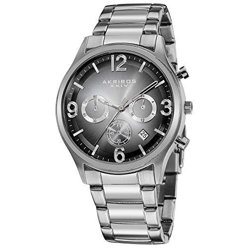 腕時計 アクリボスXXIV メンズ 【送料無料】Akribos XXIV Men's Chronograph Watch - 3 Black Multifunction Subdials and Date Window On Sunray Dial - Silver Stainless Steel Slim Bracelet - AK607腕時計 アクリボスXXIV メンズ