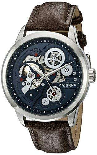 アクリボスXXIV 腕時計 メンズ 【送料無料】Akribos XXIV Men's Skeleton Watch - Mechanical Automatic Movement On Genuine Leather Strap Watch - AK855アクリボスXXIV 腕時計 メンズ