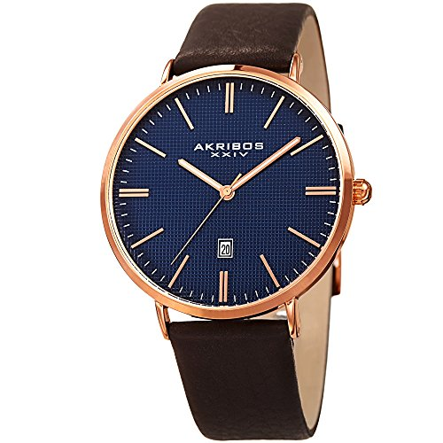 アクリボスXXIV 腕時計 メンズ Akribos XXIV Men's Rose-Tone Case with Textured Blue Dial on Brown Genuine Leather Strap Watch AK935RGBUアクリボスXXIV 腕時計 メンズ