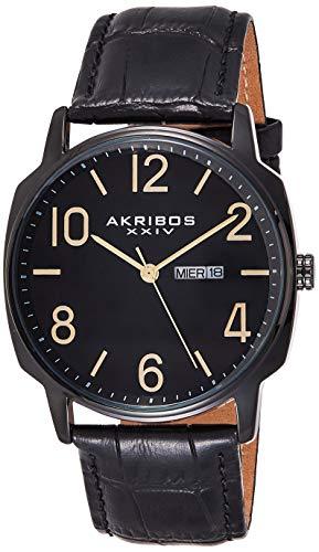 アクリボスXXIV 腕時計 メンズ 【送料無料】Akribos XXIV Men's Canvas Classic Watch - Clear Arabic Numerals With Date Window On a Comfortable Covered Genuine Leather Strap - AK801アクリボスXXIV 腕時計 メンズ