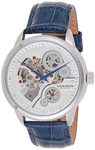 アクリボスXXIV 腕時計 メンズ Akribos XXIV Men's Skeleton Watch - Mechanical Automatic Dial On Silver Bezel and Alligator Embossed Genuine Blue Leather Strap - AK538アクリボスXXIV 腕時計 メンズ