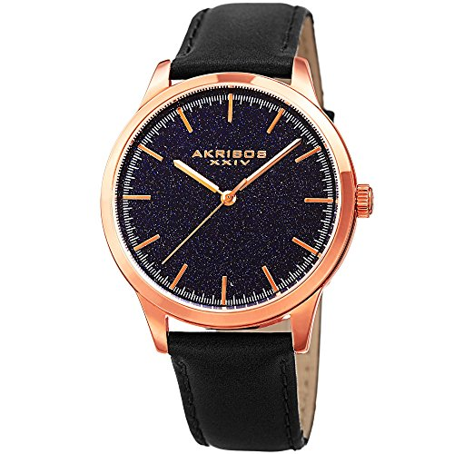 アクリボスXXIV 腕時計 メンズ Akribos XXIV Men's Rose-Tone Case with Blue Goldstone Dial on Black Genuine Leather Strap Watch AK937BKBUアクリボスXXIV 腕時計 メンズ