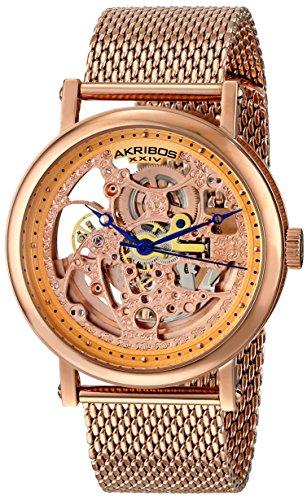 """アクリボスXXIV 腕時計 メンズ Akribos XXIV Men's AK732RG """"Bravura"""" Rose Gold-Tone Automatic Stainless Steel Watch with Mesh BraceletアクリボスXXIV 腕時計 メンズ"""