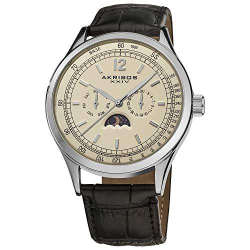 アクリボスXXIV 腕時計 メンズ 【送料無料】Akribos XXIV Men's Multifunction Retro Watch - 3 Champagne Multifunction Dials Include Day Date and AM/PM Moonphase Indicator- On Black Embossed Alligator Leather Strap - AK6アクリボスXXIV 腕時計 メンズ