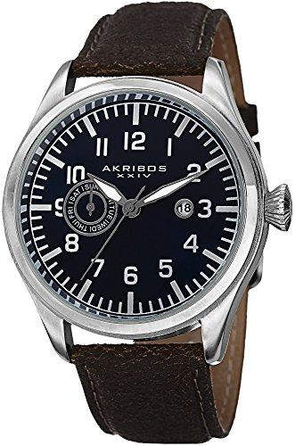 腕時計 アクリボスXXIV メンズ 【送料無料】Akribos XXIV Men's Swiss Watch- Multifunction Day, Date Indications with Date Window On Genuine Rustic Leather Strap - AK785腕時計 アクリボスXXIV メンズ