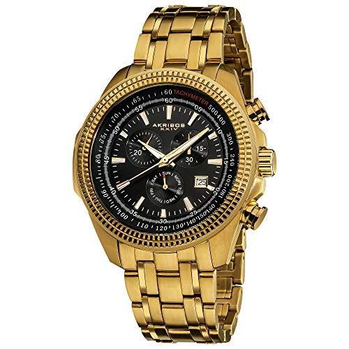 アクリボスXXIV 腕時計 メンズ 【送料無料】Akribos XXIV Men's 'Conqueror' Swiss Chronograph Watch - 3 Multifunction Subdials, Times, Seconds and Day And Date Window on Stainless Steel Bracelet - AK617アクリボスXXIV 腕時計 メンズ